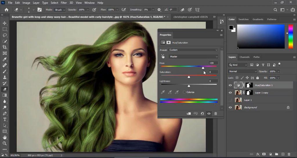 تغییر مدل رنگ مو با ابزار Hue/Saturation در فتوشاپ